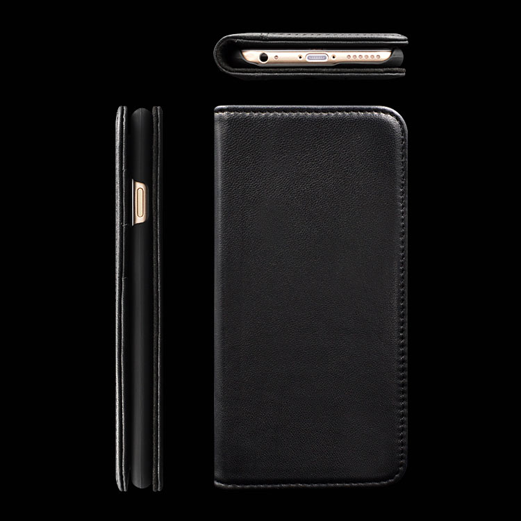 Hot Selling Genuine Nature Cow Leather Cell Phone Cases for Iphone 6 Plus Wallet Case