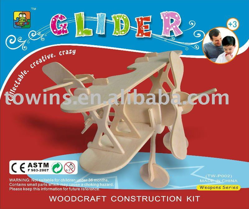 3d wooden jigsaw puzzle educational diy toy kit -glider