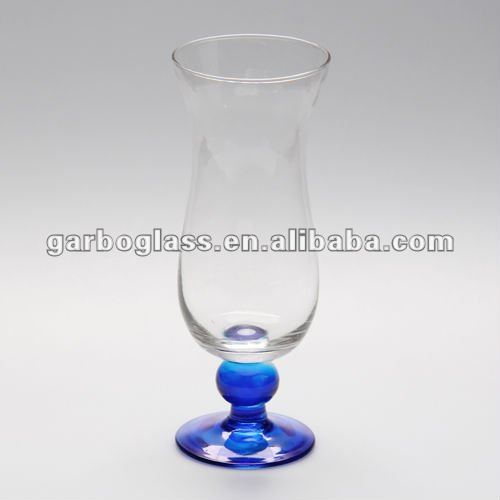 Shot Hurricane Glass with Color on the Bottom,Stem Glassware , lead-free crystal wine glass