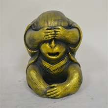 Factory wholesale cute monkey cover eyes with hands resin monkey garden statues