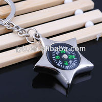 Star metal compass keychain for decoration