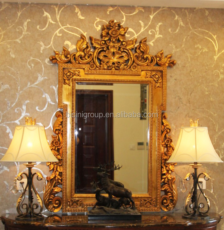 Royal imperial gold carving framed mirror for wall luxury for Furniture 08081
