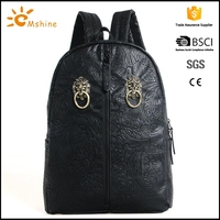 Chinese traditional embroidery technics 2014 trendy cool custom pu leather backpacks