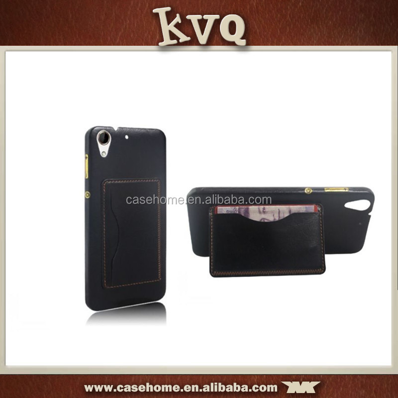 New Leather Phone Card Pocket Kickstand Back Cover for htc a620e