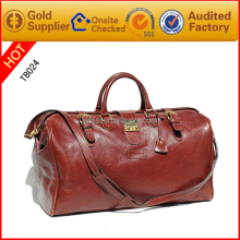 Guangzhou manufacturing leather bag travel plain duffel bag with secret compartment