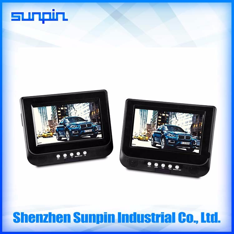 China fine battery powered 7 inch dual monitor portable dvd player with usb sd card slot