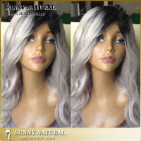 8-26inch two tone 1b/ grey hair wigs cheap human hair wig wavy glueless gray none lace wig