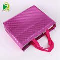 Promotional Silver Shinny Non Woven Bag Garment Gift Shopping Bag with Inner Pocket