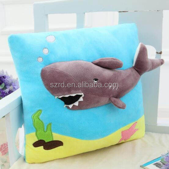 Wholesale soft dolphin blue baby pillow animal plush toys