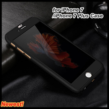 For iPhone 7 Case,Fashion Hybrid 360 degree Full protective Hard Ultra thin Case with Tempered Glass Cover For Apple iPhone 7