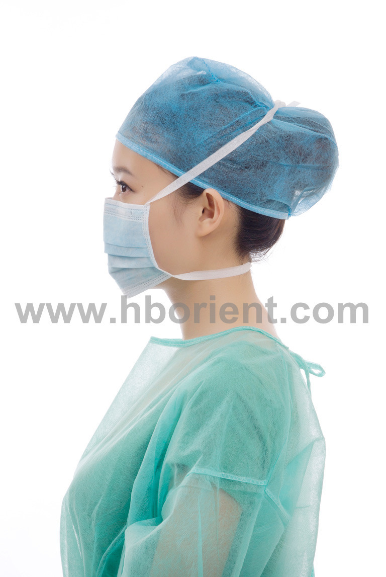 Medical sterile nonwoven face mask with tie-on