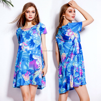 2015 Casual Loose Pattern Big Fat Women Plus size Cotton Blank T-shirt dress