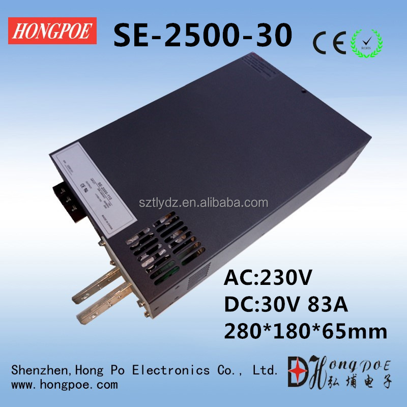 Factory Outlet SE-2500-30 DC 0-30v adjustable switching power <strong>supply</strong> 30V 83A ac -dc 30V adjustable power AC-DC High-Power PSU 25