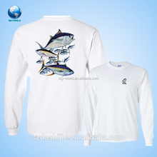 Long Sleeve White Color 100% Polyester Customized Fishing Jersey, Fishing Clothing
