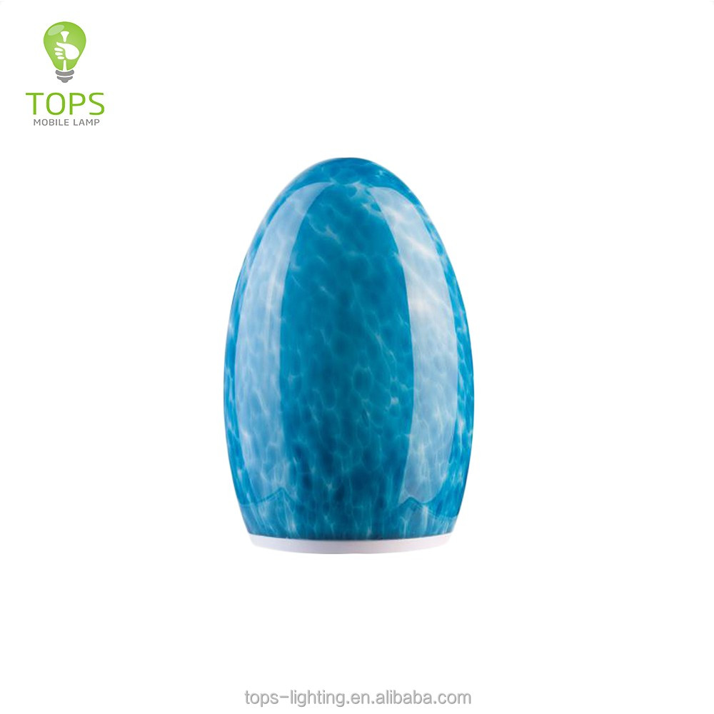 Brilliant quality egg shape blue turquoise glass table lamp