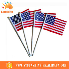 Customized Waving Country or Company Logo Printing Polyester Hand Flag plastic pole