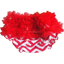 Wholesale baby cotton chevron ruffle bloomers kids baby underwear