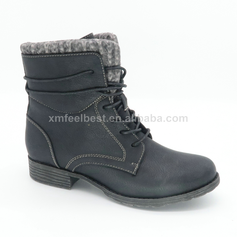 Best Selling Durable Using Women Black White Suede Western Ankle Boots Woman Mid Heel Winter Walker Boot