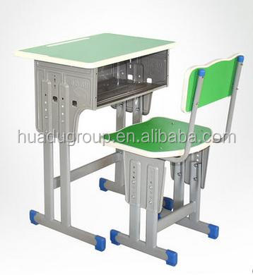New Design Classroom School Furniture Student Green Desk And Chair Height Adjustable Kids Writing Desk