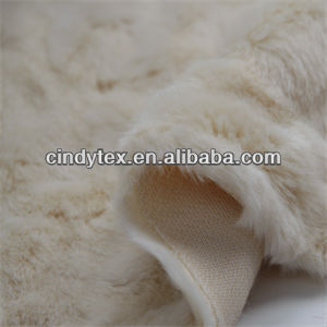 13mm ivory embossed acrylic polyester imitation rabbit fake fur fabric