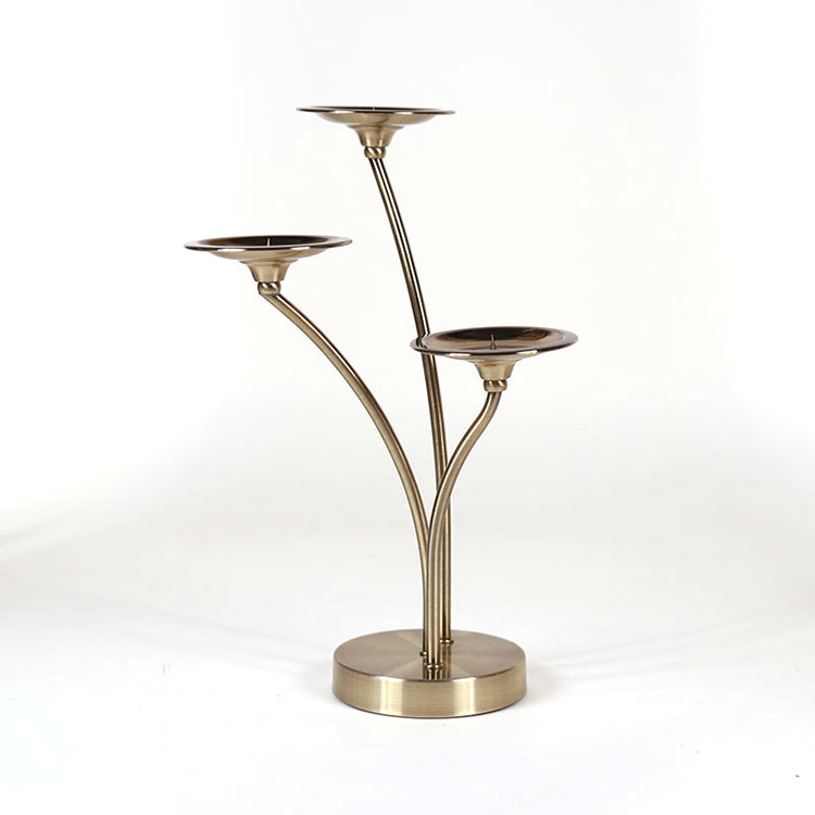 home decoration bronze metal 3 tier candle holder