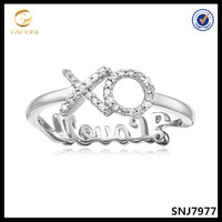 Fancy silver letter ring XO finger ring for women and men