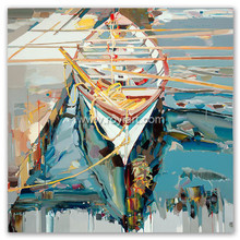 Pop art boat scenery oil painting for modern home wall art decoration