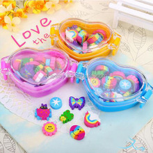 Heart shape pvc box packing cartoon erasers Colorful rainbow erasers