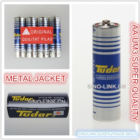 METAL JACKET AA R06 UM3 dry cell battery TUDOR brand 1.5v steel cover