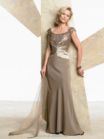 new style cap sleeve lace satin gowns for big women