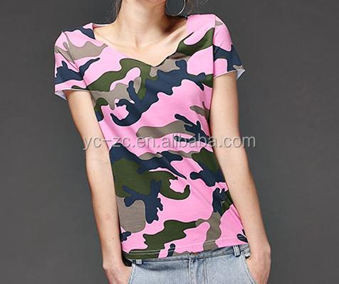 Wholesale camo t shirts women pink camouflage shirts