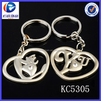 Lovely Metal Combine Graffiti in heart shape couple keychains