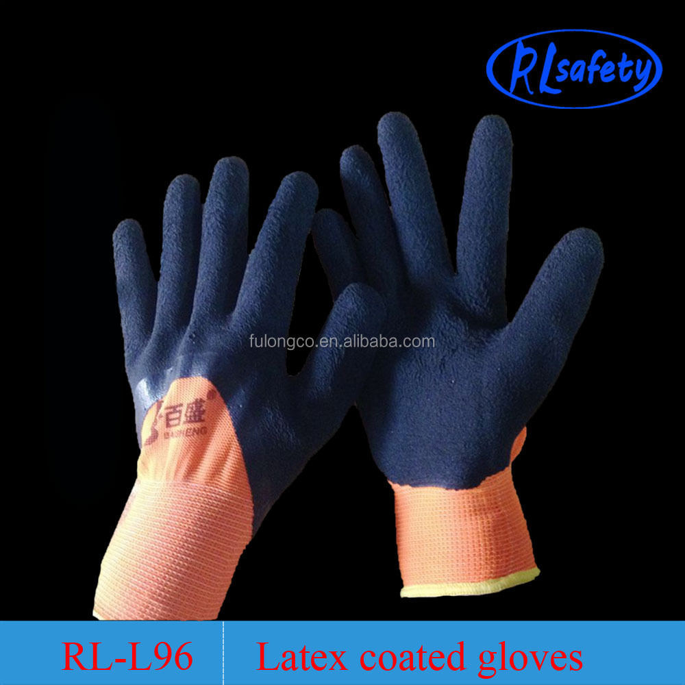 CE passed en388 safety test acrylic material latex coated thermal safety gloves
