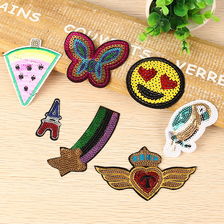 Butterfly style embroidery & sequins patch for garments decoration can accept customized