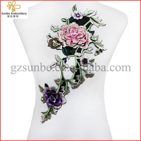 3D Embroidery Flowers Applique Lace Fabric