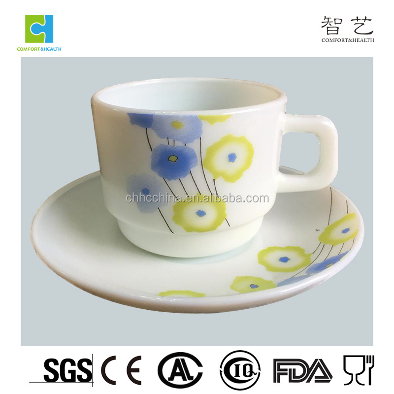 High quality 12pcs coffee cup set opal glass dinnerware