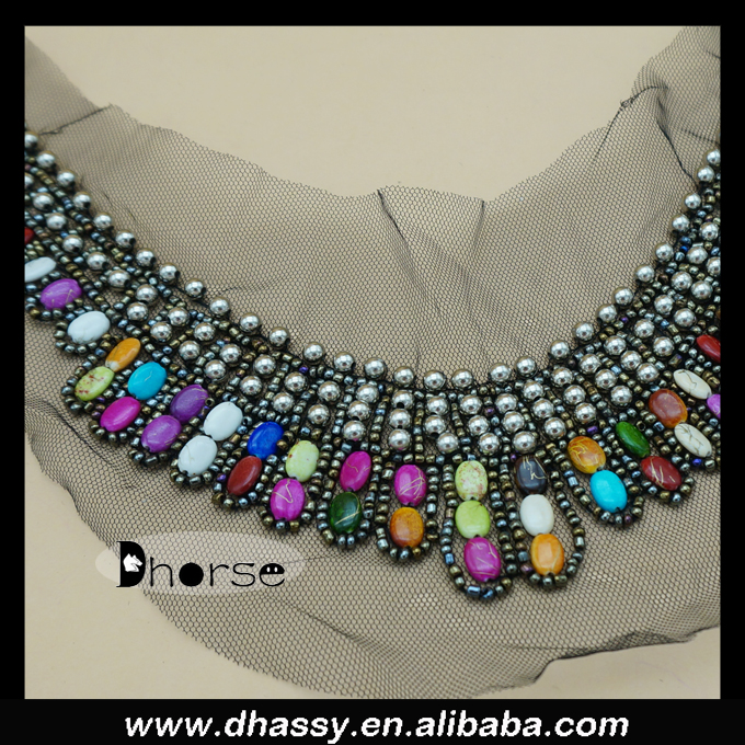 Factory price cheap round colorful resin stone beaded blouse front collar neck design