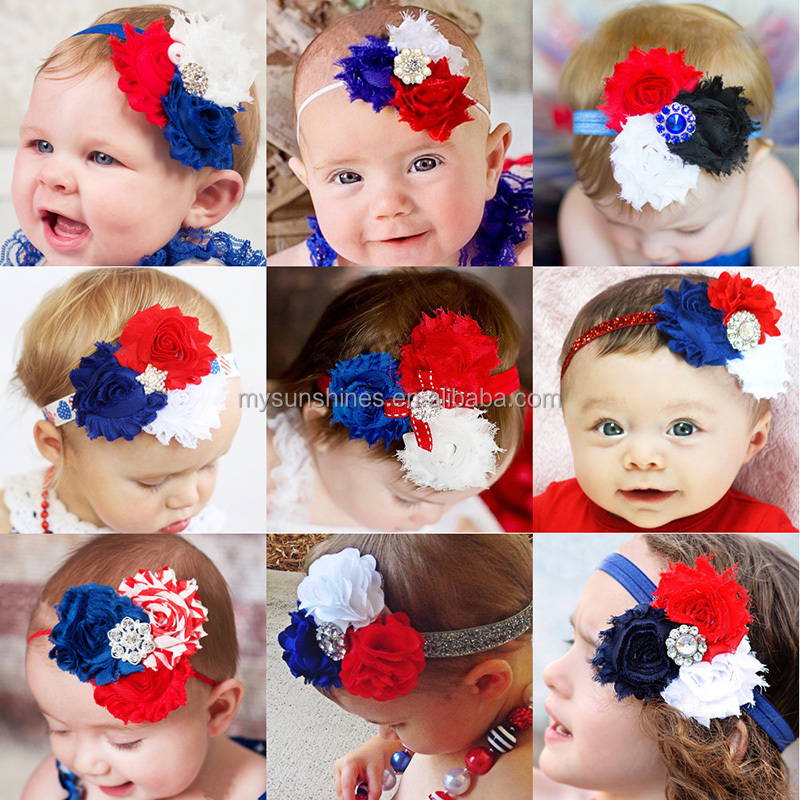 2017 Wholesale USA Patriotic <strong>Headband</strong> 4th Of July Independence Day Girls hair <strong>Headband</strong> Baby