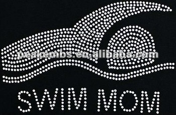 Swim MOM Rhinestone Transfer Iron on Motif