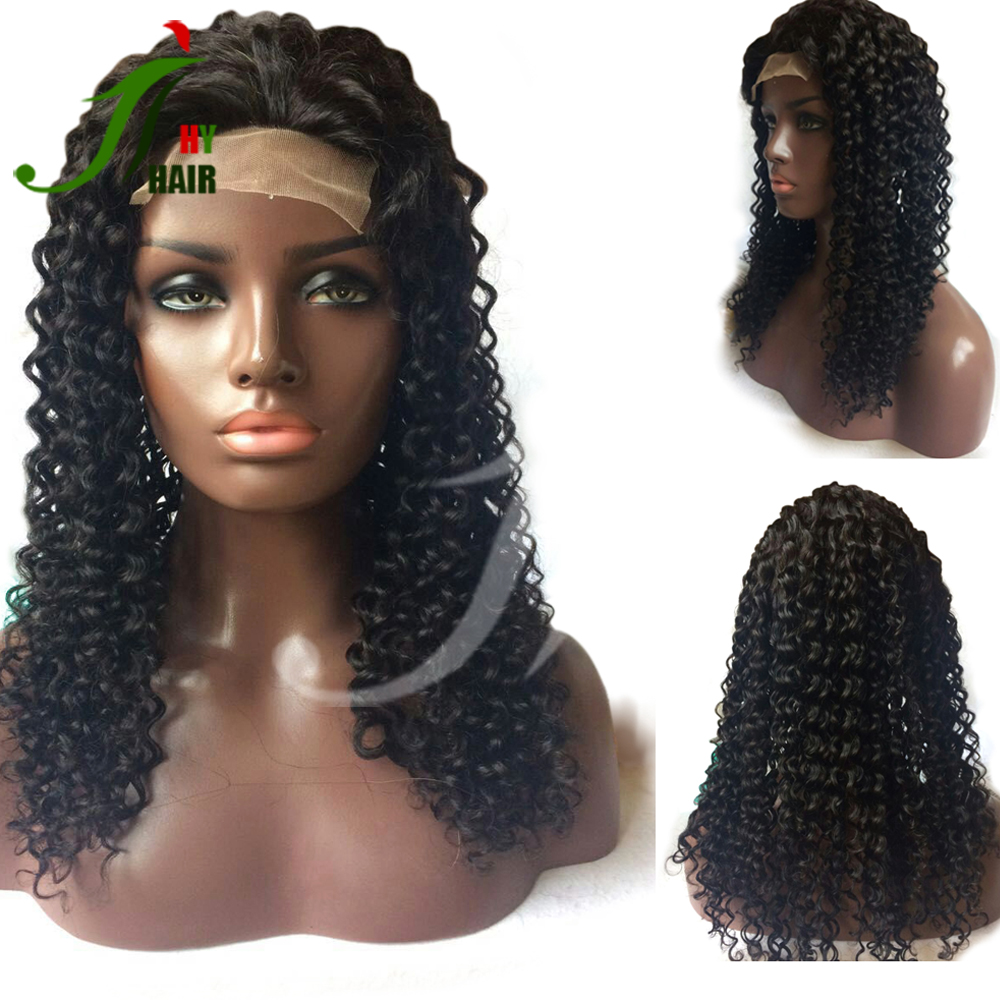 Wholesale Online 8A Best Quality Brazilian Hair Virgin Human Hair Afro Kinky Curly Lace Front Wig for Black Women