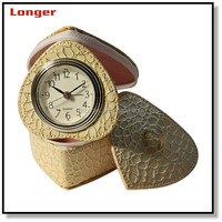 Beautiful heart shaped leather travel alarm clock desk clock