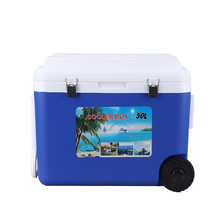 50L portable wholesale Plastic Insulated keep ice cooled box food wine use cooler with wheels