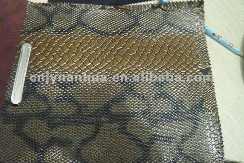 High-light,snake-emboss pvc artifical bag leather
