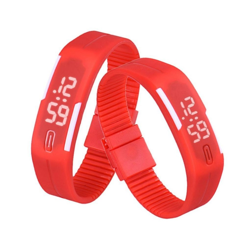 Fashion Design Ultra Thin Sports Silicone Digital Unisex LED Sports Bracelet Wrist Watch