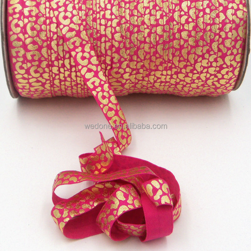 Wholesale Gold Foiled Fold Over Elastic Ribbon For Hair Ties