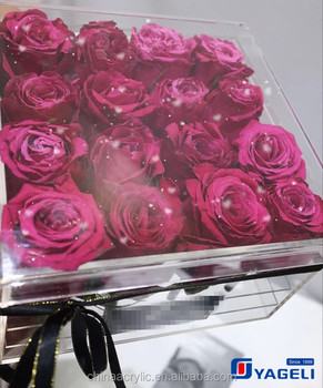 Newest Design Acrylic Flower Box Jewelry Packing Box With Logo 20 x 20 x 20 cm