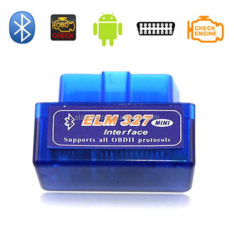 Mini OBD2 ELM327 V1.5 Bluetooth Car Scanner- Android Torque Auto Scan Tool OBD-II Engine Fault Diagnostic Code Tester Blue