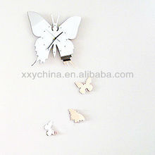 decorative Butterfly Sticker Mirror Clock for office and home