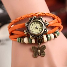 ebay china online Top Quality Women Leather Vintage Bracelet Wristwatches Wing butterfly Pendant Retro watches lady 2014 girls