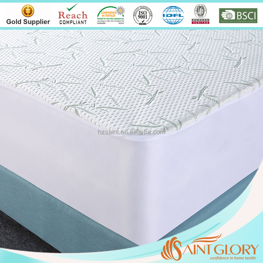 Breathable Bamboo Water Proof Mattress Protector Bed Bug Proof Pet Dander Proof Queen Saint Glory
